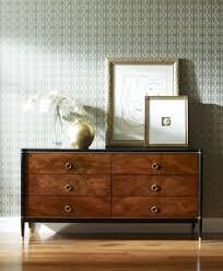 Drexel Heritage Sinuous Dresser by Adorno Hollywood Regency Walnut Ebony Brass 6 Drawer Wide Dresser