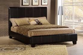 Dark Brown Bi Cast Upholstered Modern Bed w Baseball Stitching