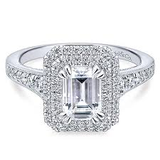 14K White Gold 171cttw Vintage Inspired Double Halo Emerald Cut Diamond Engagement Ring
