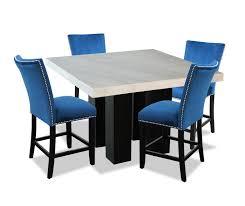 100 Desjardins Elegance Cami 5Piece CounterHeight Dining Set Blue