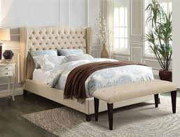 King Platform Bed With Fabric Headboard by Beige Fabric Bed Frame With Tufted Headboard And Grey White