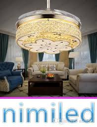 Nimi914 Invisible Living Room Retractable Crystal Ceiling Fan Lights Restaurant Light Bedroom Modern Luxury Chandelier Pendant Lamps Online With