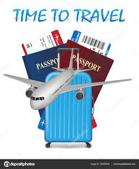 Air Travel International Vacation Concept Business Banner With Airline Tickets Realistic Airplane And Suitcase Isolated On White Background