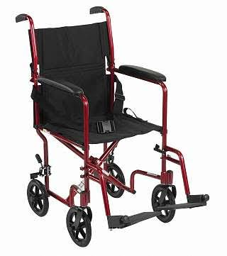 "Drive Medical Lightweight Wheelchair - 19"", Red"
