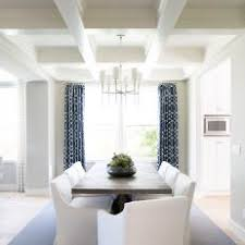 Gray Transitional Dining Room With Navy Curtains