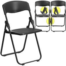 Flash Furniture Hercules Heavy Duty Black Folding Chair With Built In  Ganging Brackets