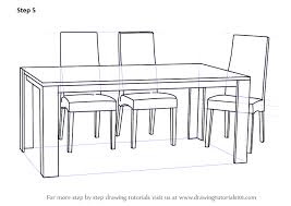 Learn How To Draw Dining Table With Chairs Furniture Step By Drawing Tutorials