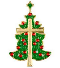 Christmas Tree Pin With Cross