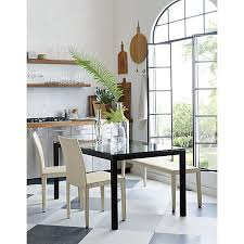 Crate And Barrel Lowe Chair by Parsons Glass Top 48x28 Dining Table With Natural Dark Steel Base