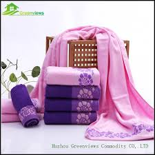 Purple Decorative Towel Sets by Floral Satin Decoration Soft Absorbent Bamboo Fiber Towel Luxury