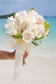 Caribbean Wedding Flowers With Ivory Roses And White Orchids