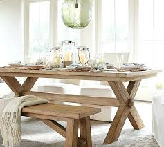 Long Dining Table With Bench Extending 3 Piece Set Pottery Barn