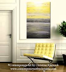 GICLEE PRINT Art Abstract Yellow Grey Painting Vertical Wall