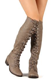 amazon com military lace up over the knee high boots vegan