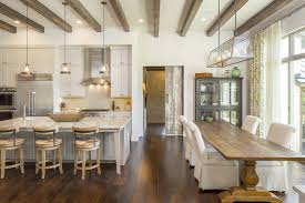 European Farmhouse Kitchen Decor Ideas With Large Wooden Dining Table Also Island Seating And Ceiling Design Besides Low Back