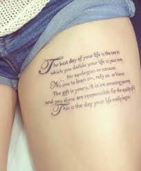 Thigh Script Tattoo Woman