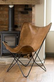 Leather Butterfly Chair - Tan | Casa Bella Furniture UK