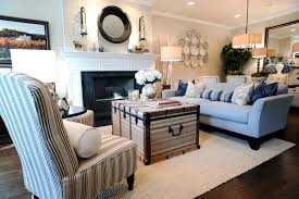 coastal interior living room with compact decoration part of