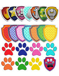 70 Paw Patrol Clipart 7 logos and 7 shields printable Digital