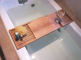 wooden bathtub food and reading tray with wine holder ideas