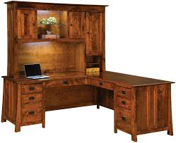Amazing Dresden L Shaped Desk With Hutch Countryside Amish Furniture For Rustic Attractive