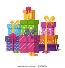 Wrapped t boxes pile isolated on white background Presents or ts stack for wedding or