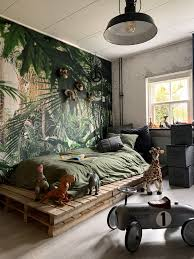 beautiful kid s room with jungle wallpaper by jellinadetmar