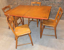 Antique Vintage C1930s Wood Pine Kitchen Table Chairs Game Painted Deco