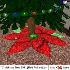 Christmas Tree Skirt Red Poinsettia