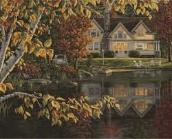 Autumn Reflections Lakeside Cottage Paint By Number 20x16 Plaid