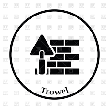 Icon of brick wall with trowel bricklaying process Royalty Free Vector Clip Art
