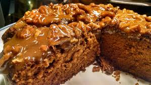 Homemade Tennessee Whiskey Cake with butterscotch drizzle and