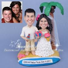 Tropical Bride And Groom Wedding Cake Topper With Palm Trees