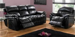 Darrin Leather Reclining Sofa With Console by Black Leather Recliner Classic 3 Seat Bonded Leather Double
