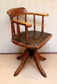 Oak And Leather Office Chair - Antiques Atlas