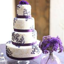 Cake With Purple And Gold Changing The Flowers