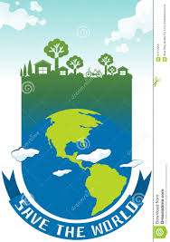 100 House Earth Save The World Theme With On Stock Vector Illustration