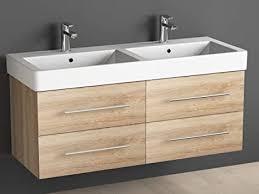 aqua bagno badmöbel 120 cm inkl keramik doppelwaschtisch badezimmer möbel inkl waschbecken unterschrank eiche gold sonomo