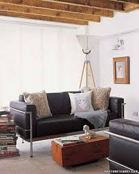 Living Room Decorating Ideas Black Leather Sofa by Black And White Rooms Martha Stewart