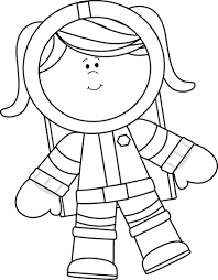 Black and White Girl Astronaut Floating Clip Art Black and White