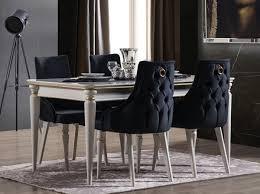 casa padrino luxus deco esszimmer set dunkelblau weiß gold 1 ausziehbarer esszimmertisch 6 esszimmerstühle deco esszimmer möbel