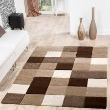 teppich wohnzimmer modern karo muster mit konturenschnitt