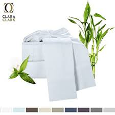 Amazon Bamboo Bed Sheet Set White Queen Size By Clara