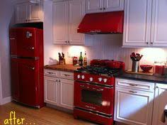 Red Appliances White Cupboards Very Cottagey