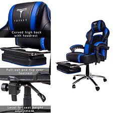 Reclining Gaming Chair With Footrest by Topsky High Back Racing Style Pu Leather Executive Computer Gaming