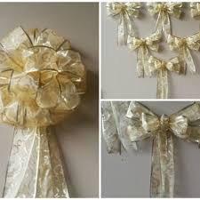 Gold Swirl Christmas Tree Topper Bow Set Ornament Decorations Large