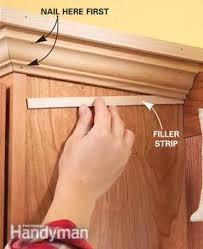 Cabinet Filler Strip Install by How To Add Shelves Above Kitchen Cabinets Family Handyman