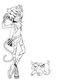 Monster High Toralei Stripe And Pets Posing Coloring Pages