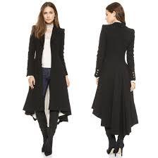 fashion women winter woolen coat with dovetail hem victorian style