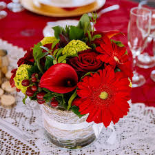 Red Roses Daisies And Lilies Centerpiece